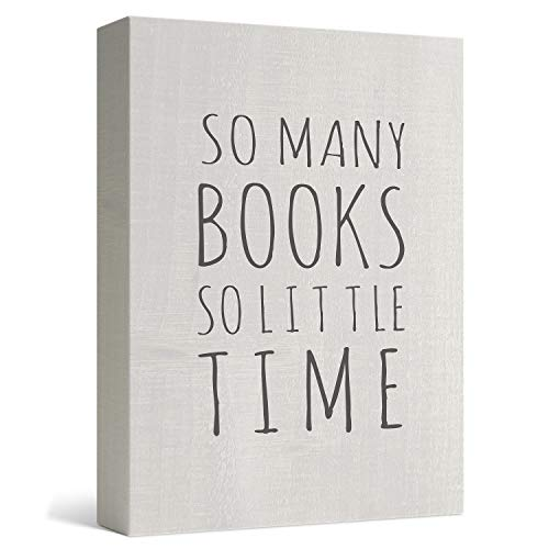 """Barnyard Designs So Many Books So Little Time Box Wall Art Sign Primitive Country Home Decor Sign with Sayings 8"""" x 6"""""""
