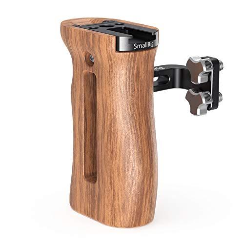 SMALLRIG 木製ハンドルグリップ ウッドグリップ 左右使用可能 カメラケージハンドル コールドシューマウント装備-2093