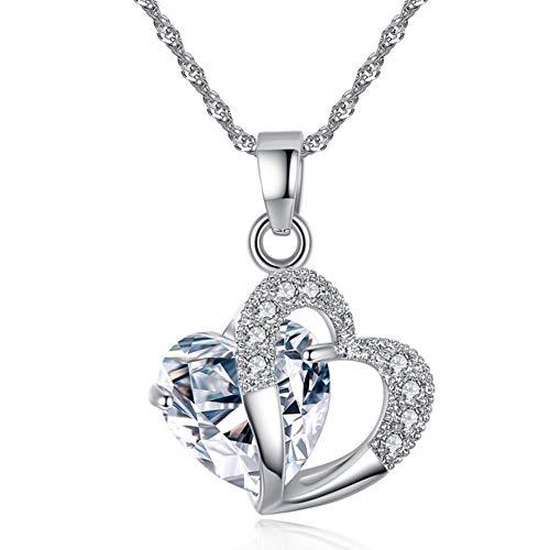 Collana con cuore da donna, collane con ciondolo, collana con zirconi cubici a forma di cuore, San Valentino / festa / anniversario / regalo di compleanno