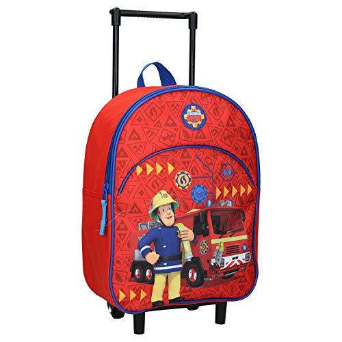 Sam le Pompier Sac à Dos à Roulettes pour Enfants - Camion de Pompier - Rouge