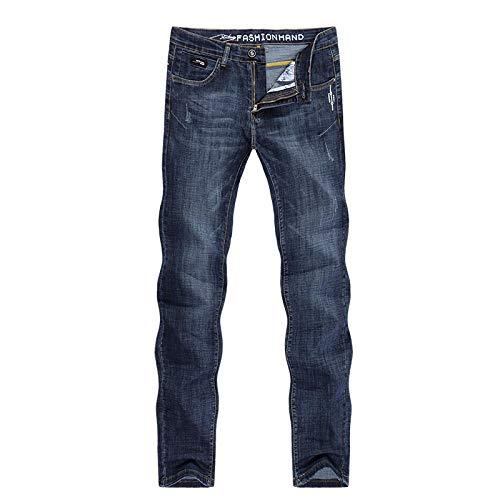 Jeans Vaqueros Pantalon Hombres Jeans Slim Straight Blue Stretch Primavera Y Verano Regular Fit Suave Y Transpirable Calidad Hombres Ropa Denim Jean-Blue_28