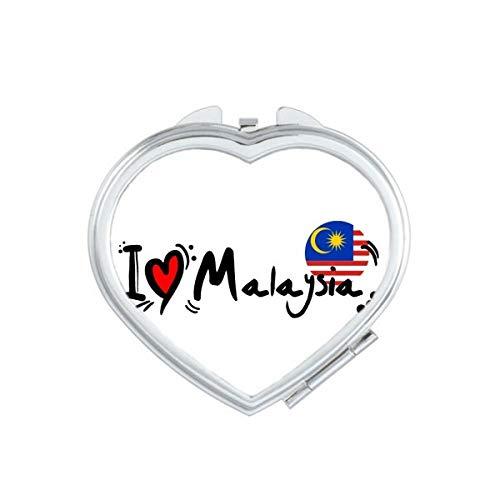 DIYthinker J'aime Illustration Thaïlande Drapeau Mot Coeur d'amour Coeur Maquillage Miroir Compact Portable Mignon Miroirs de Poche à la Main Cadeau Multicolor