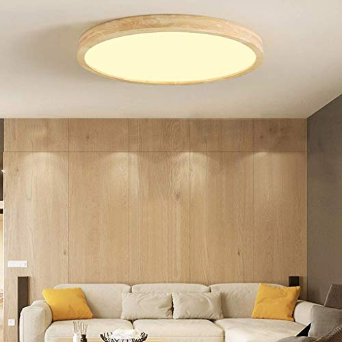 DEJ ronde plafondlamp, moderne minimalistisch, houten stijl, creatieve salon, slaapkamer, eetkamer, hal, afstandsbediening, plafondverlichting, acryl, lampenkap, 50 cm * H7 cm 36 W dimmen