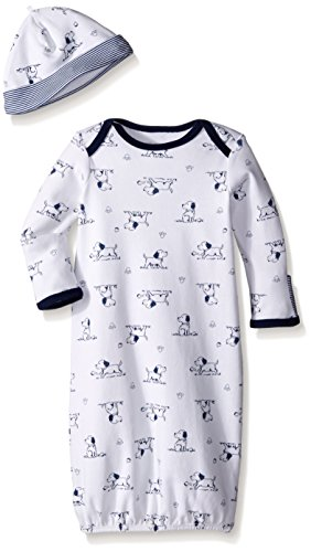 Little Me Baby Boys' Gown and Hat, White Print Puppy, 0-3 Months