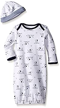 Little Me Baby Boys  Gown and Hat White Print Puppy 0-3 Months