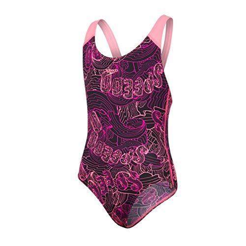 Speedo Mädchen Badeanzug Candy Bounce Allover Splashback, Black/Bubblegum Pink/Diva schwarz, 28, 807386C525