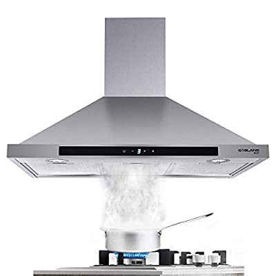 GASLAND Chef 30-inch Stainless Steel Wall Mount Kitchen Hood, 3 Speed 450-CFM Sensor Touch Control Exhaust Hood Fan, Convertible Chimney-Style, LED Lights, Aluminum Mesh Filters