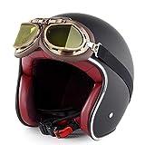 Casco moto da donna Jet 3/4 aperto Jet Face Lightweight con occhiali Retro Cruiser Chopper Cafe Racing casco da pesca Classic Retro Harley Casco moto