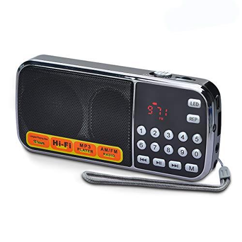 Songway Mini Radio portátil Am/FM / MP3 / USB/TF, con Altavoz de Alta fidelidad, estación de escaneo/Almacenamiento automático, Antena Oculta, Linterna de Emergencia (Negro)