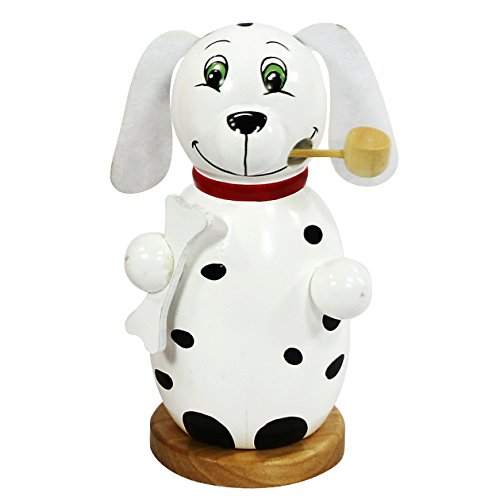 Dekohelden24 Trendige Moderne Holz-Räucherfigur Hund, in Weiss, ca. 13 cm