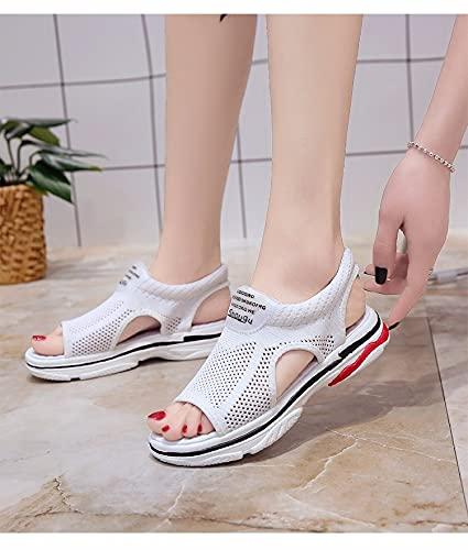 XSJK Damen Sandalen Sommer Mesh Casual Sports Schuhe Student Weichsohlen Sandalen, Fischmaul Gewebt Damenschuhe,Weiß,35