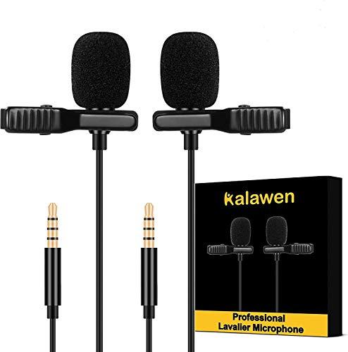 Kalawen Lavalier Mikrofon 2 Omnidirectional Kondensator Lapel Mic für 3,5mm Android Smartphone iPhone, PC und Kamera mit zwei 2m Mikrofon Verlängerungskabel für Interview Videokonferenz Podcast