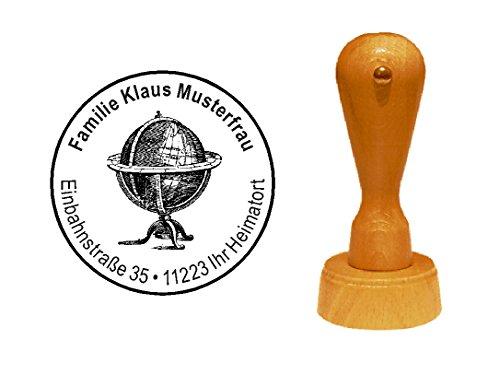 Stempel alter Globus - mit persönlicher Adresse - Ø 40 mm