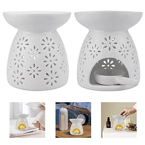 Wantouth 2 Pezzi Bruciatore Oli Essenziali Bruciatore di Candele Ceramica Bruciatori a Nafta in Ceramica a Forma di Fiore con Portacandele e Cucchiai per Decorazione Casalinga Regalo per Meditazione