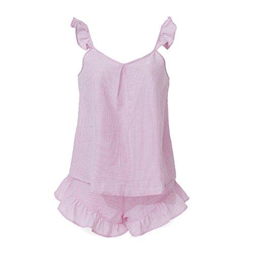 WDDGPZSY Camisa De Dormir/Camisón/Ropa De Dormir/Pijamas/Pijamas Mujeres Preciosas Pijama Suave + Corto Conjunto De Ropa Interior Femenina De Verano, Rosa, L