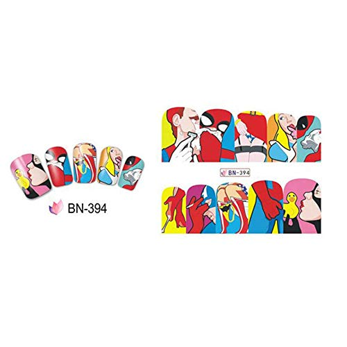 JSIYU nail art adesivi 1pc Fashion Pop Art Nail Sticker Trasferimento di acqua Chiodi Decalcomanie di arte Beauty Decor Slider Cool Girl Lips Manicure BJ