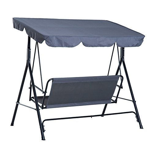 Outsunny Hollywoodschaukel Gartenschaukel Schaukelbank 3-Sitzer mit Dach Stahl Grau 172x110x152cm - 5
