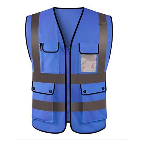 Vest Reflecterende Veiligheid Hoge Zichtbaarheid Workwear Veiligheid Vest Logo Afdrukken Workwear Veiligheid Gilet Veiligheidsvesten Met Reflector Strepen Aankomst L Blauw