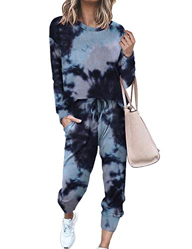 Womens Sweatsuit 2 Piece Casual Fall Pullover Long Sets Tie Dye Tracksuit XL