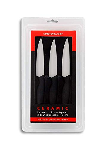 Le Couteau du Chef, Tarrerias Bonjean 441780 Set de 3 Couteaux à Steak Lames céramiques 10 cm manche ergonomique Soft Touch
