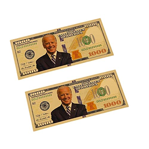 blinkee Two Pack Smile 1000 Fake Dollar Gold Foil President Joe Biden 24k Gold Plated Bill Collectible Banknotes for Decoration