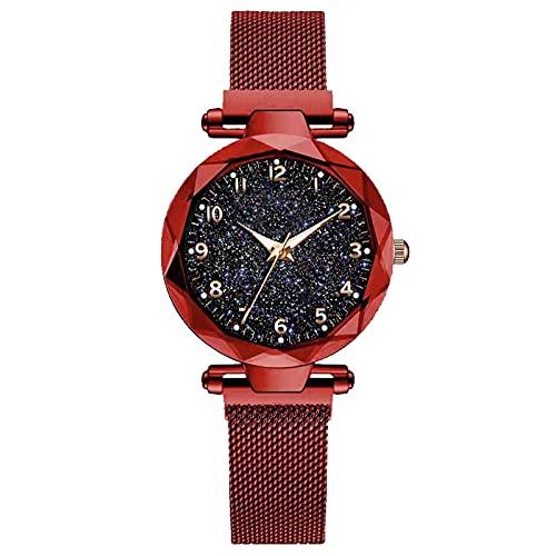 XIAOQIAO Reloj de Lujo de Las señoras, Reloj Femenino de Cielo Estrellado magnético, Reloj de Cuarzo, Reloj de Moda para Damas (Color : Red)