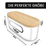 VALELA Brotkasten - Brot Box ideal zur Brotaufbewahrung geeignet, Testsieger Brotkasten mit Schneidebrett, hochwertiger Brotkorb Weiß - 2