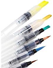 اقلام رسم للتلوين بالالوان المائية واقلام رصاص قابلة للذوبان في الماء واقلام تخطيط والوان ثابتة او مسحوق صباغة