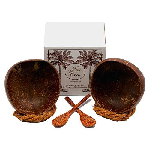 Meer Coco® Kokosnussschale Starter Set INKL. 33 Rezepte E-Book, 2X Kokosnuss Schalen, 2X Natur Holz Löffel und Untersetzer Ideal für Acai-, Muesli-, Frühstücks-, Smoothie-, Buddha- Bowl Schüssel