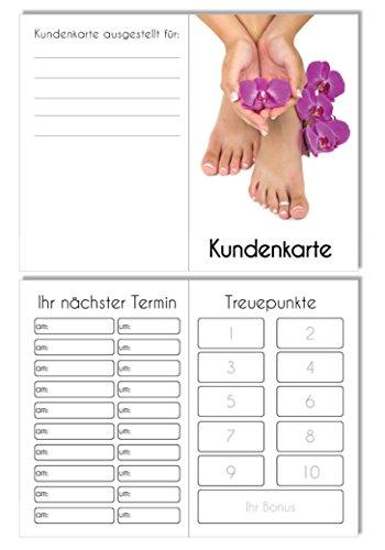 50 Kundenkarten 2in1 Terminkarte & Bestellkarte in einem Orchidee Pediküre Fußpflege Podologie