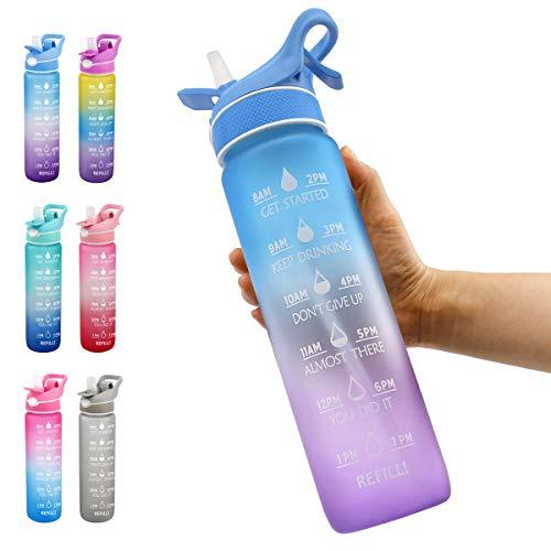 Botella de agua deportiva de 32 oz con marcador de tiempo y pajita, jarra de agua a prueba de fugas sin BPA Toyou bebe suficiente agua diariamente para gimnasio y actividades al aire libre,Blue purple