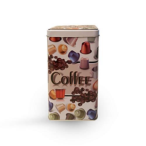 Envase de metal para capsulas de café, porta cápsulas de Coffee metálico con tapa hermética, Bote para capsulas Nespresso o Dolcegusto, modelo redondo y rectangular de 750 y 1700ML(1700 ML Con Tapa)