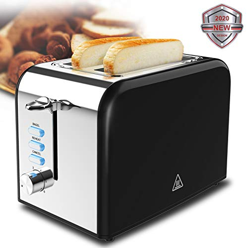 Toaster 2 Slice best rated prime Black Stainless Steel Bagel Toaster 1.5in Wide Slots 6 Shade Settings and Removable Crumb Tray Heating Breads Evenly and Quickly