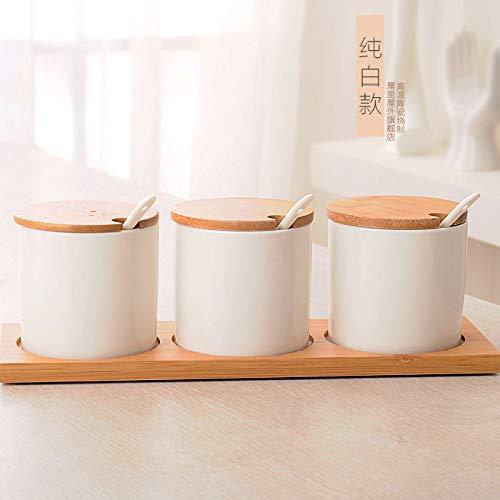 SGAN Set di vasetti di spezie in Ceramica Set di condimenti Set di scatole da Cucina Set di Tre Pezzi da Cucina Set da Tre Pezzi Shaker di Sale Ciotola di Zucchero,A1