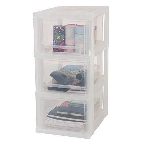 IRIS, Schubladenschrank / Schubladenbox / Rollwagen / Rollcontainer / Werkzeugschrank \'Smart Drawer Chest\', SDC-303, mit Rollen, Kunststoff, frostweiß / transparent