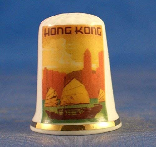 Porcelain China Collectable Thimble - Travel Poster Series Hong