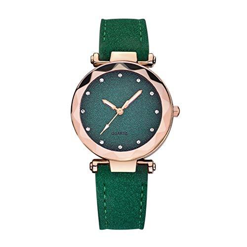 QHG Cuarzo de Cuero Reloj de Mujer Reloj de Moda Mujeres Relojes de Pulsera Reloj de Lujo Reloj de Pulsera Casual Mujer (Color : D)