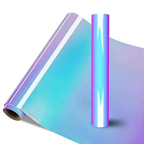 Holografische Vinylfolie Plotter Selbstklebend - Permanente Holografische Vinylrolle 30.5 x180cm für Cricut und Silhouette Cameo, Maker Explore Angewandt in Kunsthandwerk und Heimdekoration (Opalweiß)