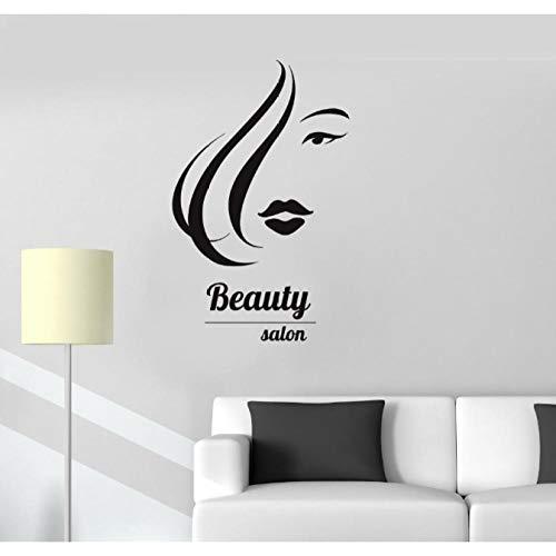 Vinyle Sticker Salon de Beauté Cheveux Spa Coiffeur Femme Fille Autocollants 57X90Cm
