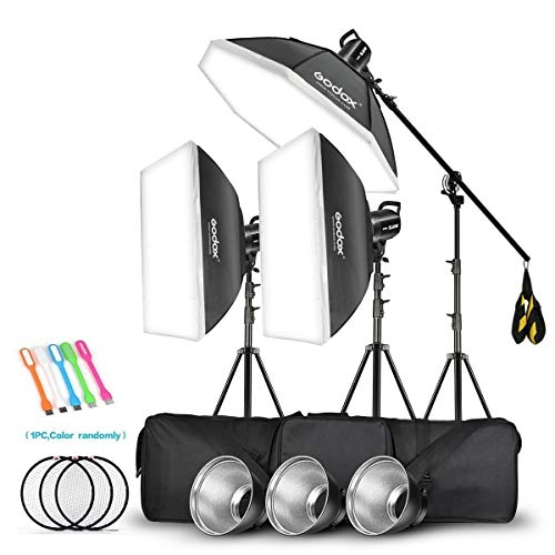 Godox 3 Pack SL-60W 180W CRI95+ White Continuous Output Lighting LED Video Light Bowens Mount Kit for YouTube,Video Shooting,Studio,Children Photography,Wedding &Softbox,Light Stand,Carrying Bag(110V)