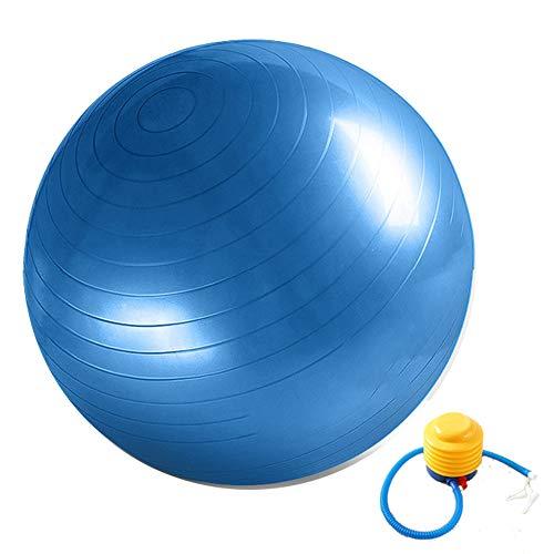 Pelota de gimnasia, pelota de fitness, pelota de asiento, antipinchazos, incluye bomba de pelota, gruesa, robusta, soporta hasta 300 kg, pelota de deporte, balance pilates, 55 cm - 75 cm, color azul