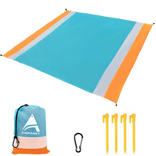 AISPARKY Beach Blanket, Beach Mat Outdoor Picnic Blanket Large Sandproof Compact for 4-7 Persons Water Proof and Drying Beach Mat Nylon Pocket Picnic for Outdoor Travel (78' X 81')