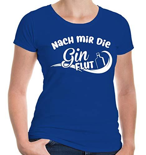 buXsbaum® Damen Girlie T-Shirt Nach Mir die Ginflut | Spruch | L, Blau