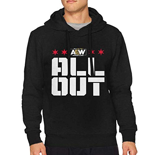 Tengyuntong NAasks Felpe con Cappuccio, AEW all out Man Hoodies Long Sleeve Hoodie Pullover Hooded Sweatshirt Keep Warm And Comfortable Cotton Tops Black Small