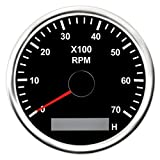KAOLALI Medidor de RPM del Tacómetro Tacho Gauge Con Cronómetro 0-7000RPM 85mm Con Luz de Fondo