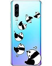 Oihxse Cristal Compatible con Huawei P40 Funda Ultra-Delgado Silicona TPU Suave Protector Estuche Creativa Patrón Panda Protector Anti-Choque Carcasa Cover(Panda A3)