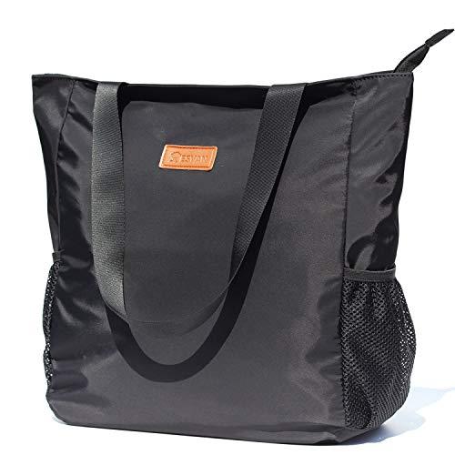 Original Floral Water Resistant Large Tote Bag Shoulder Bag for Gym Beach Travel Daily Bags Upgraded ([S] Black)