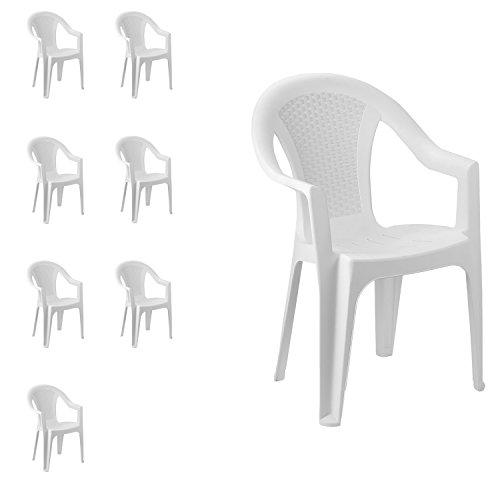 FineHome Set van 8 tuinstoelen, stapelstoel, bistrostoel, tuinstoel, stapelbaar, balkonmeubelen, tuinmeubelen, wit, kunststof rotan look