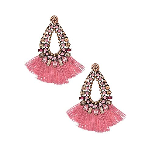 Arete Pendientes Amarillos De Borla Larga Para Mujer Pendientes De Gota De Cristal Para Boda Joyería De Declaración De Moda-Leather_Pink
