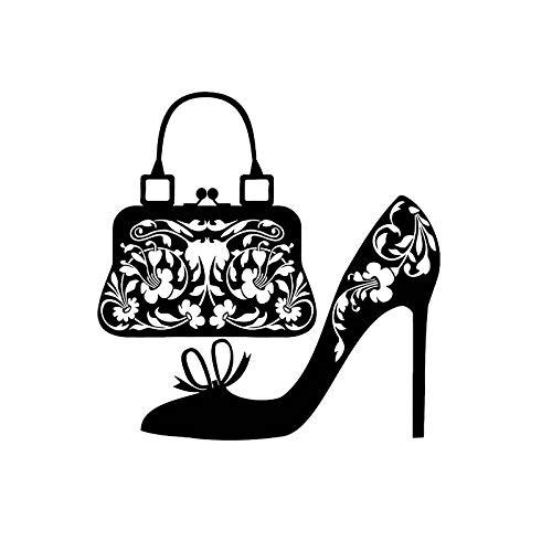 TMANQ 12,3 * 12,5 CM Zapatos Bolso de Mujer Moda Compras Mujer Vinilo calcomanías Coche Pegatina Negro Plata-A